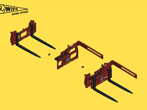 Attachment of box rotator to front loader/telehandler